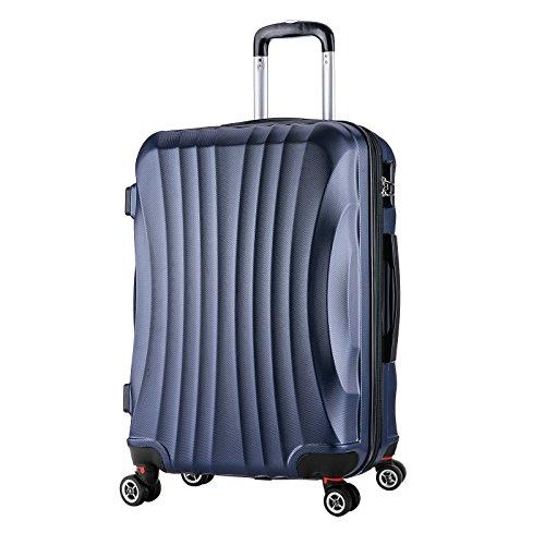 WOLTU RK4213bl-L, Reise Koffer Trolley Hartschale 4 Rollen Volumen erweiterbar, Reisekoffer Hartschalenkoffer Handgepäck, M/L/XL/Set, leicht und günstig, Blau (L, 67 cm & 70 Liter) (Trolley-set Erweiterbarer)