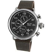 Davis 1930 - Reloj retro piloto para hombre, esfera negra, día y fecha, hora dual, correa de piel, color marrón