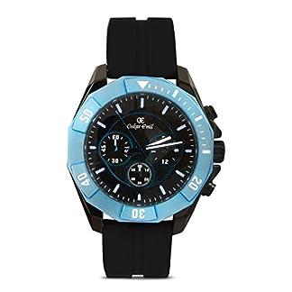 Sports Oskar Emil para hombre reloj infantil de cuarzo con esfera cronógrafo y negro correa de silicona Akron negro/azul