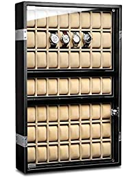 Ferocase Uhrenvitrine FC5051BK mit LED-Beleuchtung für 56 Uhren schwarz matt
