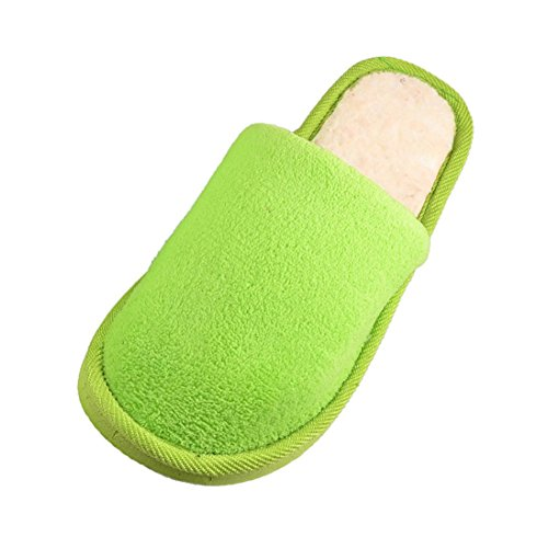 TOOGOO(R) Femme Vert Polaires Maison doux hiver chaussons chauds 41