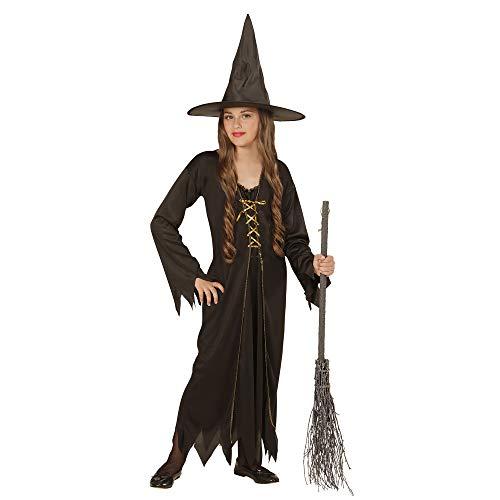 Widmann 00438 - Kinderkostüm Hexe, Kleid mit Hut, Größe 158, - Böse Kinder Kostüm