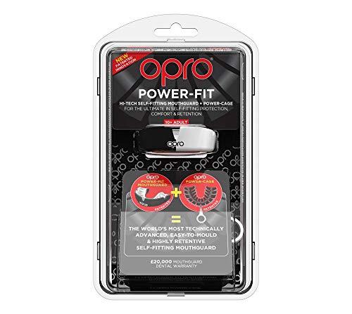 Opro Unisex's Power-Fit Sport-Mundschutz, für Erwachsene, Unisex, schwarz/weiß, Für Erwachsene