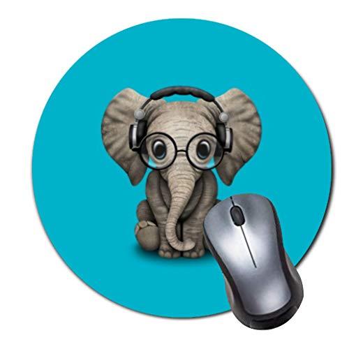 Gaming Mauspad rutschfest Gummi Mauspad Rund Mauspad für Computer Laptop Mousepad Baby Elefant DJ mit Brille Kopfhörer