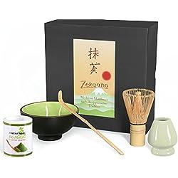 Bio Matcha Komplett Set 5-teilig, Schale sommergrün, mit Bambuslöffel, Bambusbesen, Besenhalter und 30g Bio Matcha Tee, alles in eleganter Geschenkbox, Original Aricola®