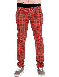 Mens Drainpipe Jeans Red Tartan Punk Rock Retro Vintage Indie 28 30 32 34 36