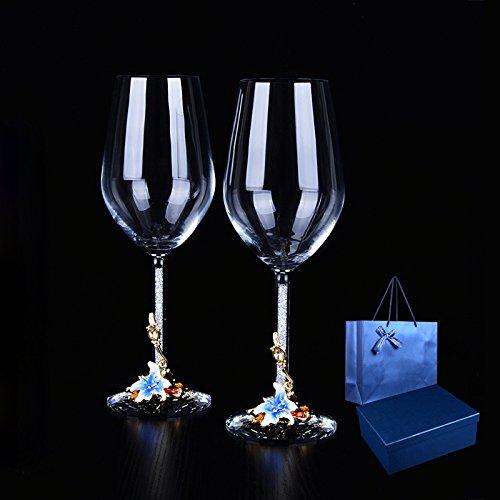 WAY DAY Emaille Wein Kelch Weingläser (2er Set) - Bleifreies Kristallglas Kunst Handwerk Glas 350ml für Wein, Cocktail, Champagner usw. - hochwertige Qualität Gläser in einer luxuriösen Geschenkbox