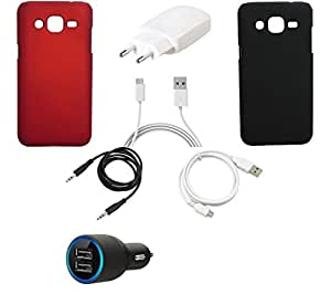NIROSHA Cover Case Charger USB Cable for Samsung Galaxy J3 - Combo