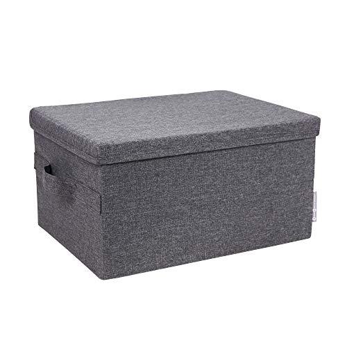 Bigso Box of Sweden große Aufbewahrungsbox mit Deckel und Griff - Schrankbox aus Polyester und Karton in Leinenoptik - Faltbox für Kleidung, Decken, Spielzeug usw. (Grau)