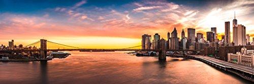 lifestyle4living Leinwandbild, Rising Sun Sonnenaufgang, New York, NY City, Bild, Wandbild, Wanddeko, Leinwand, Wanddekoration, Panoramabild, blau, gelb, orange, grau