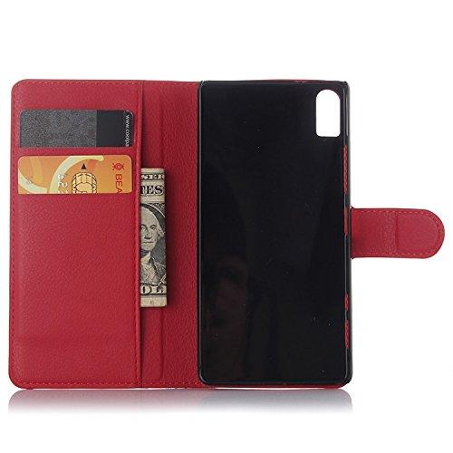 Tasche für Lenovo Vibe Shot Z90-7 Hülle, Ycloud PU Ledertasche Flip Cover Wallet Case Handyhülle mit Stand Function Credit Card Slots Bookstyle Purse Design rote