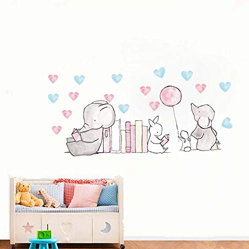 Terilizi Neue Cartoon Tier Elefant Bunny Wandaufkleber Kinderzimmer Dekoration Niedlichen Elefanten Herz Wandtattoos Diy Wandbild Kunstwerk 20 * 60 Cm (In Der Home-baby-herz-monitor)