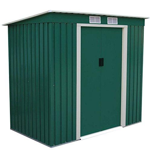 metall-geratehaus-213x130x173cm-gerateschuppen-garten-schuppen-gartenhaus-pultdach-grun