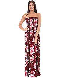 fd992ca998ede ZEE Fashion Womens Ladies Printed Strapless Bandeau Sheering Sleeveless  Floral Maxi Dress Plus Sizes