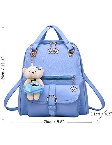 Menschwear PU Zaino Satchel Daypack sacchetto di scuola Bianco Cielo Blu