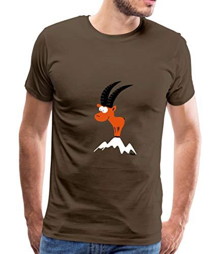 Spreadshirt Steinbock Berggipfel Alpen Bergland Männer Premium T-Shirt, M, Edelbraun