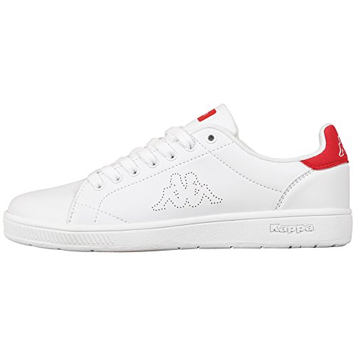 Kappa Unisex Adults' Court Footwear Unisex Low-Top Sneakers White (1020 White/RED) Size: 36 EU (3.5 UK)