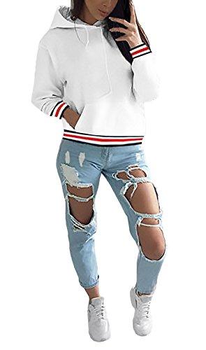 Felpa Donna Con Cappuccio Invernali A Strisce Maniche Lunghe Sweatshirt Hoodies Sportiva Casuali Maglie Elegante Pullover Moda Giovane Tasche Coulisse Felpe Imbottitura Calda Bianco