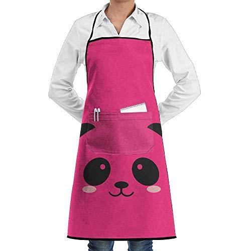 GDESFR Apron with Pock,Panda Bear Kids Coloring Men & Women Bib Chef Kitchen Apron with Pockets