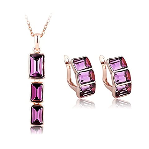 JiangXin Rose Gold Plated Romantic Purple Austrian Crystal Pendant Necklace