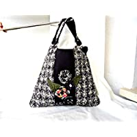 Black wool fabric handbag, Smart floral tote bag, Chic bag for women, Woman accessory gift