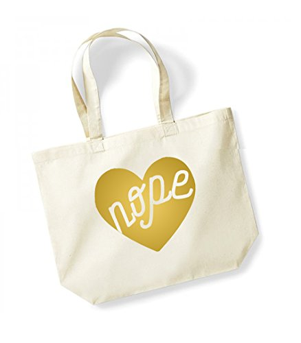 Nope - Large Canvas Fun Slogan Tote Bag Natural/Gold