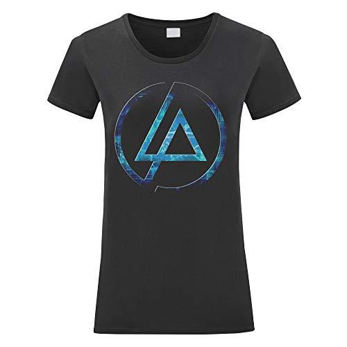 LaMAGLIERIA Damen-T-Shirt Linkin Park Futuristic Logo - Maglietta 100% Baumwolle, L, Nero