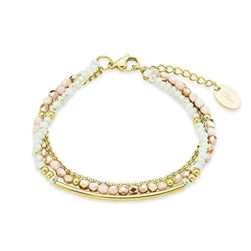 s.Oliver Damen-Armband Peach loves Lightgreen Edelstahl Glas mehrfarbig 20 cm - 573092
