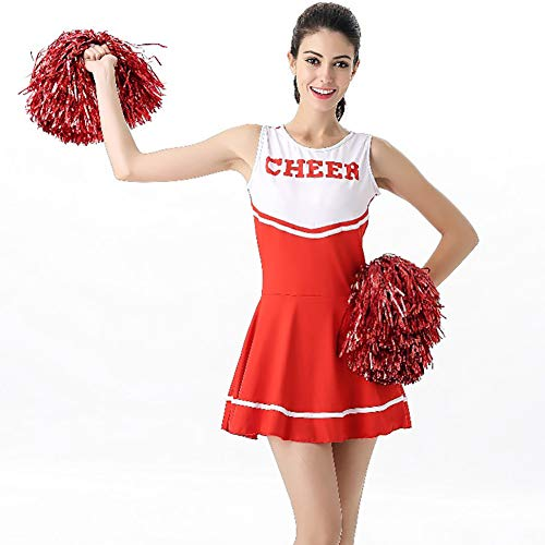 School Girl Kostüm Red - Damen High School Cheer Girl Uniform Cheerleader Kostüm Outfit Sport Bühne Leistung Cheerleader Kleidung Party Halloween Rock,Red+Flower,M