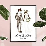 Personalisiertes Bild Fuchs Hochzeit mit oder ohne Rahmen | Hochzeitsgeschenke Geschenkidee | Geschenke für Paare | Personalisierte Hochzeitsgeschenke | Optional mit Gravur auf Bilderrahmen