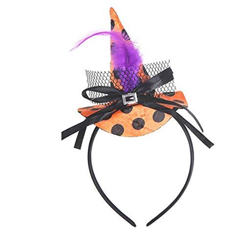Halloween Stirnband Hexen Hut für Kinder Mädchen Feder Bowknot Stirnband Haarband Party Requisiten Karneval Kostüme Kostüm Zubehör - lila