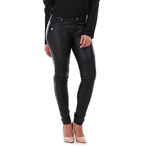 La Modeuse - Pantalonslim enduit avec zips décoratifs et empiècements