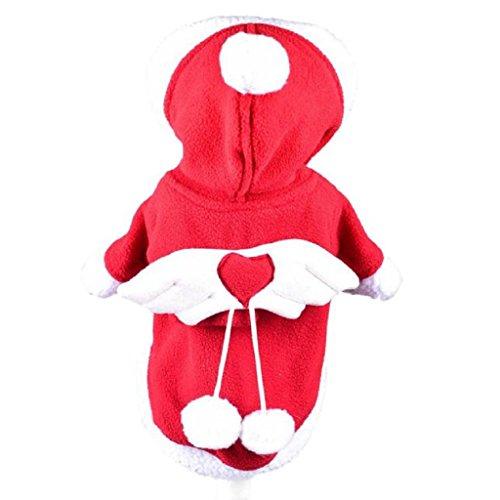 Loveso-Haustier Hunde Kleider Bekleidung Rot Hund Welpen und Katzen-Engels-Flügel-Winter-warme Kleidung Mantel Overall Hoodie (M, Rot)