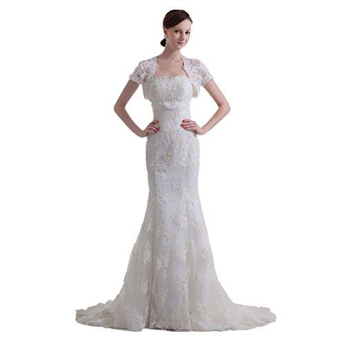 Jspoir Melodiz donna treno senza spalline abito da sposa, con perline a forma di spazzacamino bianco 48