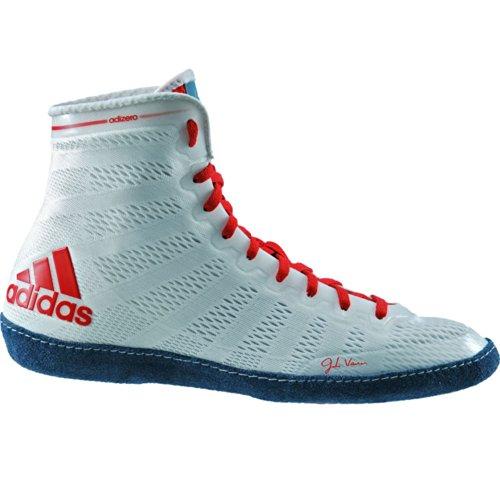 Adidas Adizero Varner Wrestling scarpe, reale / bianco / nero, 4 M Us White/Navy/Red