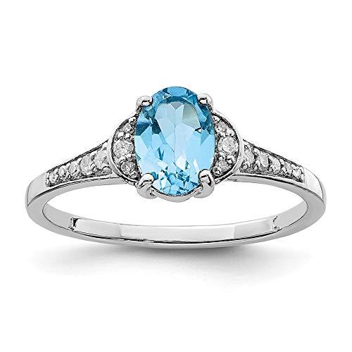 Wunderschönes Sterling-Silber 925 rhodiniert Durchmesser Ring mit blauem Topas in der Schweiz und hell, inklusive Schmuckgeschenk