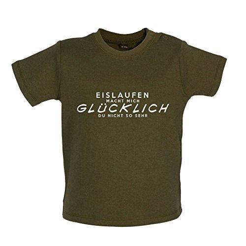 Eislaufen macht mich glücklich - Baby T-Shirt - Grün Camouflage - 12 bis 18 Monate