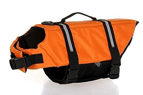 E-Bestar Gilet de Sauvetage Pour Chiens Veste de Flottaison Pour Chiens Harnais Veste de Sauvetage Fluorescent Pour Animaux de Compagnie (Orange, S)