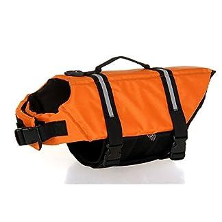 Dog Life Jacket Fastening Pet Buoyancy Aid with Strap Dog Apparel Swimming Saver Life Jacket Vest 419dwxSWy0L