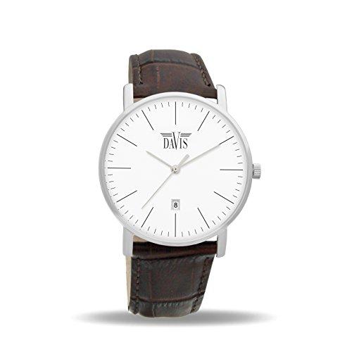 Davis 1990 - Reloj Diseño Hombre Mujer Cuadrante Extra plano Esfera Blanco Fecha Correa de Piel Marron