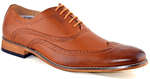 Mens Leather Lined Smart Wedding Lace Up Brogues Formal Dress Shoes Size 6-12 - Tan - UK 8