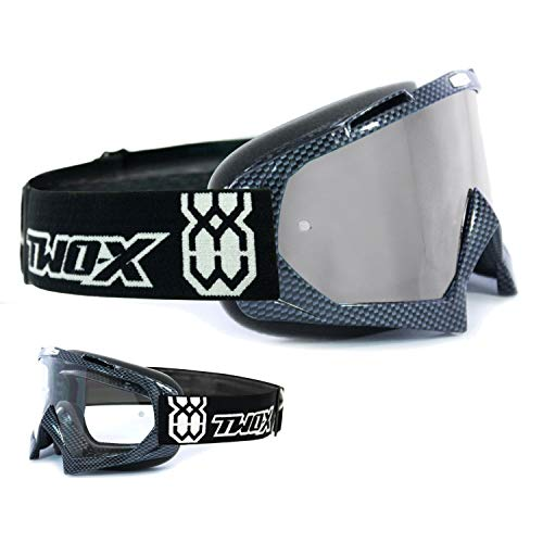 TWO-X Race Crossbrille Carbon Glas verspiegelt Silber MX Brille Motocross Enduro Spiegelglas Motorradbrille Anti Scratch MX Schutzbrille
