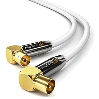 deleyCON 10m TV Antennenkabel HDTV Full HD - 2x gewinkelt - Koaxialkabel - TV-Stecker (90° Grad) zu TV-Buchse (90° Grad) - Metallstecker - Weiß