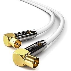deleyCON 5m TV Antennenkabel PREMIUM HDTV Full HD - 2x gewinkelt - Koaxialkabel - TV-Stecker (90° Grad) zu TV-Buchse (90° Grad) - Weiß - METALL