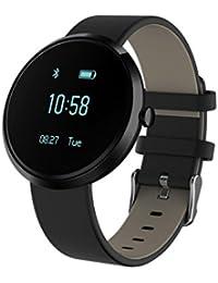 zolimx Nuevo Smart Bluetooth pulsera reloj V06 presión arterial Sport pulsómetro(Negro)