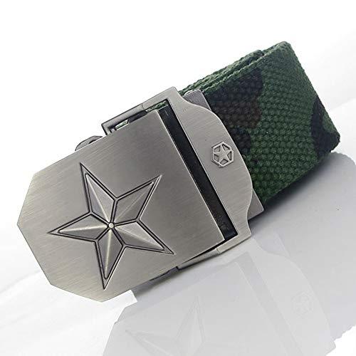 YUANZYYD Tactical Belt,Camouflage 3D Star Military Emblem Canvas Belt Alloy Buckle Military Men Belt Army Tactical Belts for Men Male Strap,150Cm