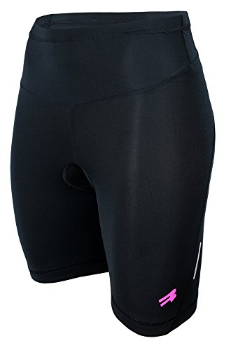 ROUGH RADICAL Damen Radlerhose Fahrradhose kurz mit Sitzpolster SHINE (M, schwarz)
