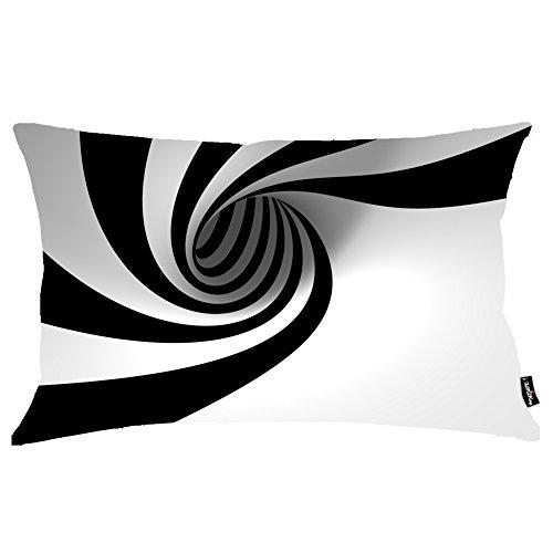 i FaMuRay Decorativa per Cuscino (Insert & Cover), Abstract Black Hole Minimalistic Spiral Stripes View White Zebra King Size 20x36