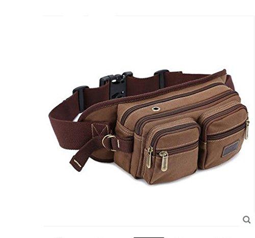 ZYT Tasche multifunzione petto borsa uomo per spalla casual maschile onda sport all'aria aperta di Messenger borse di tela . black coffee