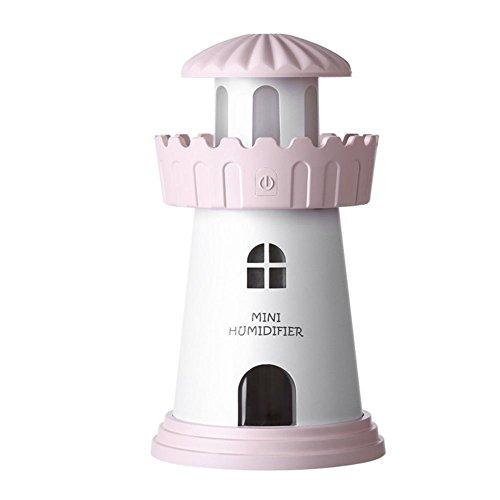 CFZHANG Leuchtturm Luftbefeuchter USB Mini Luftreiniger Traum Atmosphäre Nacht Licht Schreibtisch Urlaub Geschenk , cherry blossom powder